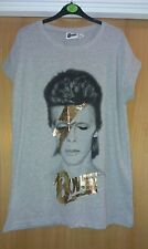 David Bowie Ziggy Stardust Bolt Womens Girls Grey TShirt Glastonbury UK10 BNWT