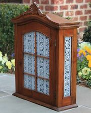 Antique French Oak Medicine Cabinet Kitchen Spice Cabinet Stenciled Lace Glass