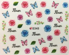 Nail Art 3D Decal Stickers Roses & Butterflies Pink & Blue E345