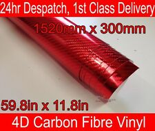 4D Carbone Fibre Vinyle Wrap Film Chrome Rouge 300mm (11.8 in) X 1520mm (59,8 dans)