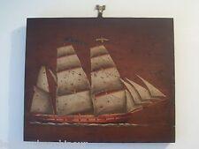 peinture sur panneau bois bateau signé marine painting on wood