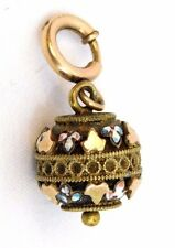 Antique Victorian ~Gold Filled~ w/ Enamel Necklace Pendant Ball Charm RARE!