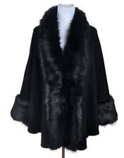New Ladies Womens Elegant Winter Round Fur Trim Coat Cape Poncho Shawl Kimono