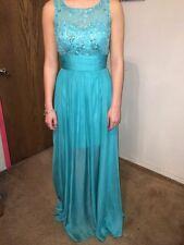 Sherri Hill, Size 2 chiffon prom dress with a bateau neckline, color mermaid