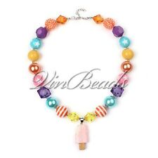 Ice Cream Pendant Chunky Gumball Bubblegum Solid Beads Necklace Girl Kid Jewelry