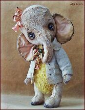 Alla Bears artist Old Vintage Elephant  art doll sunny baby pink yellow rose