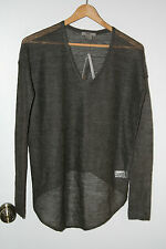 HELMUT LANG ECO FINE ALPACA PULLOVER SWEATER IN CHARCOAL GREY SIZE P/XS