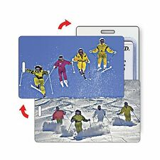 Winter Skiers Ski Snow Sport Luggage Bag Travel Tag  Lenticular Flip #LT01-209#