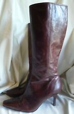 OASIS RICH BROWN LEATHER LADIES KNEE HIGH HEELED BOOTS SIZE 40