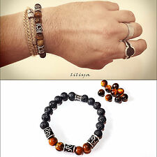 Men's beaded bracelet - mens bracelet with Tiger eye gems Tibetan Silver Spacers