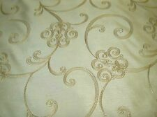 """~7 3/8 YDS~FAUX SILK~""""SCROLLS"""" EMBROIDERED~DRAPERY UPHOLSTERY FABRIC FOR LESS"""