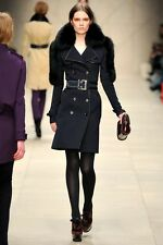 $4000 BURBERRY PRORSUM Blue Leather-Bound Trench Coat with Fur Trim US 4 IT 38