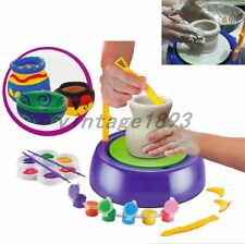 Motorized Pottery Wheel Sculpting tools Complete Kit with Clay Colours