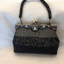 Beautiful Handmade Gold and Black Beaded Evening Clutch Handbag Bag New
