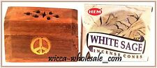ONE ASST WOODEN SMALL COFFIN BOX INCENSE BURNER and ONE BOX OF SAGE CONE INCENSE