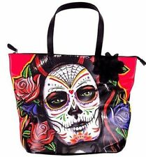 Iron Fist Rosarita Sugar Skull Day Of The Dead Muerta Emo Handbag Purse Tote Bag