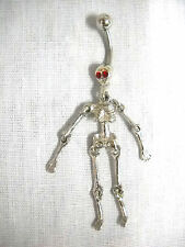NEW HUMAN SKELETON MOVING PARTS ARMS LEGS RED CRYSTAL EYES BELLY BAR NAVEL RING