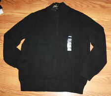 NWT Mens CALVIN KLEIN Black 1/4 Zip Ribbed Heavy Sweater Sz XL X-Large