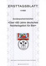 BRD 1983: Deutsches Reinheitsgebot für Bier! Ersttagsblatt der Nr. 1179! 1611