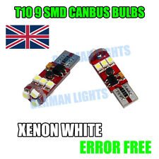 2 X CANBUS 501 9 SMD LED NUMBER PLATE SIDELIGHTS BULBS WHITE T10 W5W 6000k