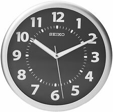 Seiko Wall Clock Silver, Tone Metallic Case Luminous  Numerals, New