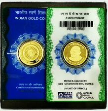 2015 first issue The Indian GOLD coin 10 grams ASHOKA Chakra GANDHI 24kt pure 99