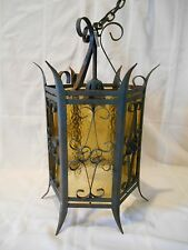 Medieval GOTH HANGING SWAG LAMP ITALY Metal Iron Light Fixure Amber Glass Church