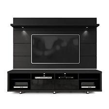 Manhattan Comfort TV Stand & Floating Wall TV Panel & LED Lights Black