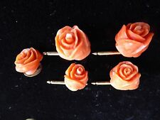 Antique Chinese 12K gold plate salmon Coral carved rose tuxedo stud button set