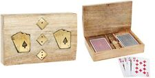 Luxury Wooden & Gold Gift Box with Playing Cards & Dice Set Games for Men Woman