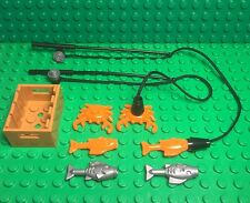 Lego New X2 Fishing Pole Rod W/ Black String,x2 crab,x4 fish,container Utensil