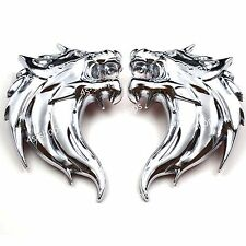 Car/Motorcycle Side Silver 3D Metal Decal Sticker Wolf Head Logo Badge Emblem