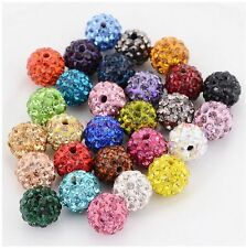10MM 100pcs Mixed Micro Pave Disco Crystal Shamballa Beads Bracelet Spacer