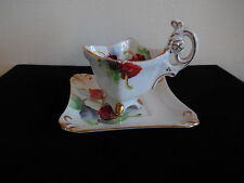 Vintage Rossetti Miniature Hand Painted Footed Tea Cup and Saucer, Gold Trim