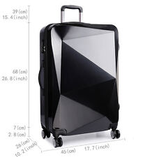 KONO Hardshell Suitcase Trolley Diamond Luggage Spinner PC And ABS Black 28''