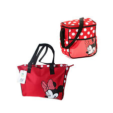 Disney Minnie Mouse Gift Set Baby Polka Dots Diaper Bag + Small Nappy Bottle Bag