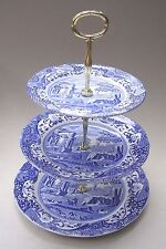 COPELAND SPODE'S ITALIAN 3 THREE TIER CAKE STAND - BLUE AND WHITE