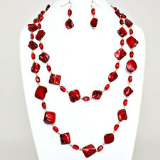 """Red MOP Bead Long 56"""" Necklace Earrings Gold Set"""