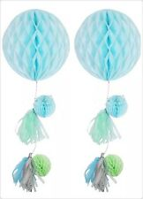 Two Blue Green Tissue Paper PomPoms Honeycomb Balls Banner Decoration