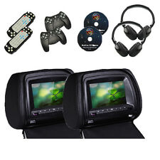 Universal 2X 7'' Reposacabezas Monitor Reproductor DVD Negro con 2x Auriculares