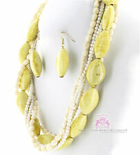 Creme Stone Look Fashion Natural Chunky Classic Acrylic Neutral Necklace Set