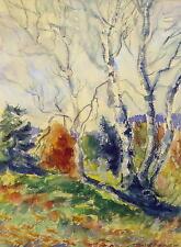 Baumlandschaft / Aquarell ,undeutlich signiert St....? / Gemälde im Rahmen