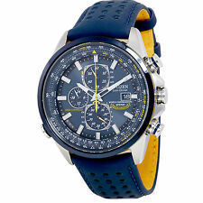 Citizen Eco Drive Blue Angels World Chronograph Blue Leather Mens Watch