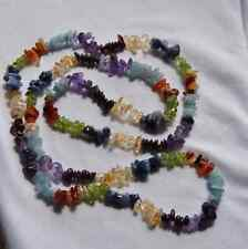 RAINBOW Colors GEMSTONE NECKLACE Beads Amethyst Citrine Peridot Garnet Sodolite