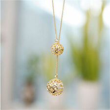 Fashion Women Necklace Double Gold Plated Long Chain Sweater Pendant Jewelry BSA