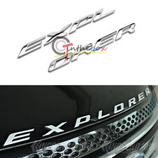 Silver Chrome Finish Front Hood 3D Letter Stickers Fit For 2011-up Ford Explorer