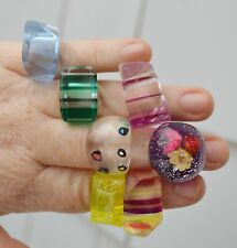 Lot vintage circa 1970s lucite rings stacked dome stripe laminated embed flower