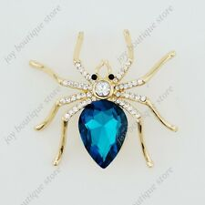 Sapphire blue crystal rhinestone spider insect fashion jewelry pin brooch gift