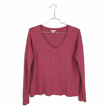 James Perse 4 Boxy V Neck Knit Top XL Berry Long Sleeve Pullover Shirt X Large