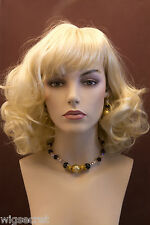 Mid Length Glamorous Norwegian Blonde Medium Wavy Skin Top Wigs Bangs
